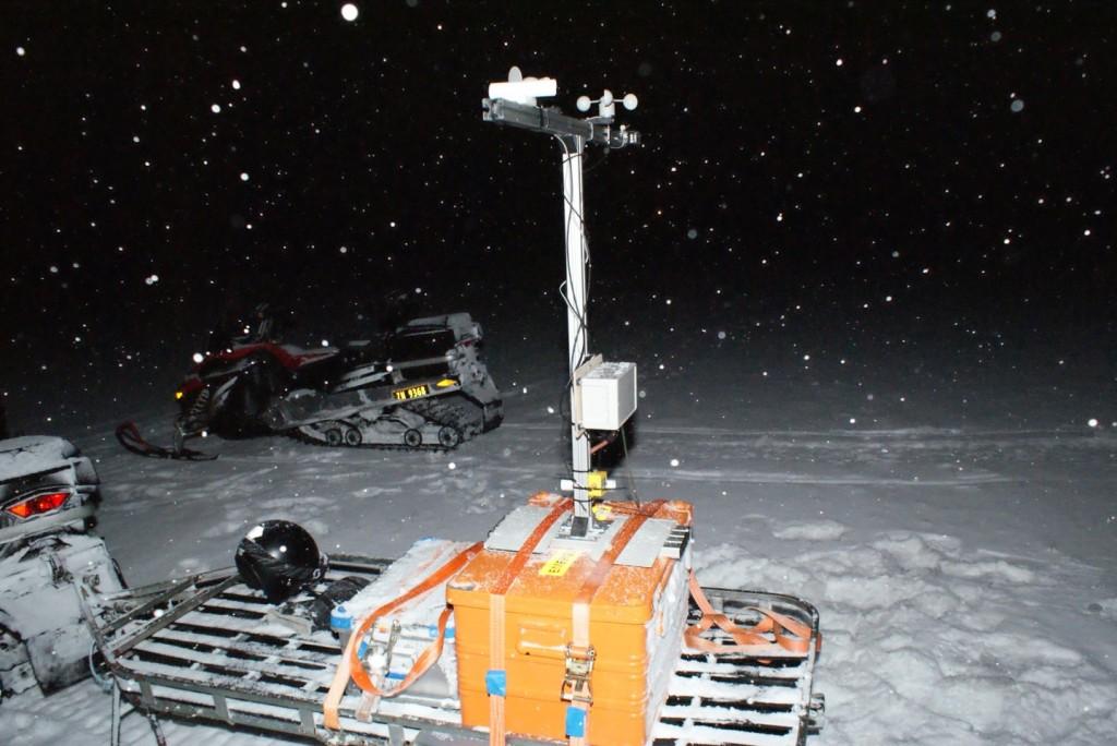 Mast auf Schneescooter